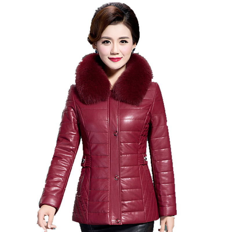 Best quality 2017 winter leather coat female Short down jacket Thicker large fur collar leather clothing Plus Size L_7XL warm the best quality 50pcs red female