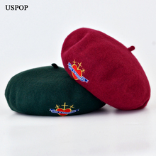 USPOP 2019 wool beret women fashion badge embroidery berets casual female thick warm winter hat