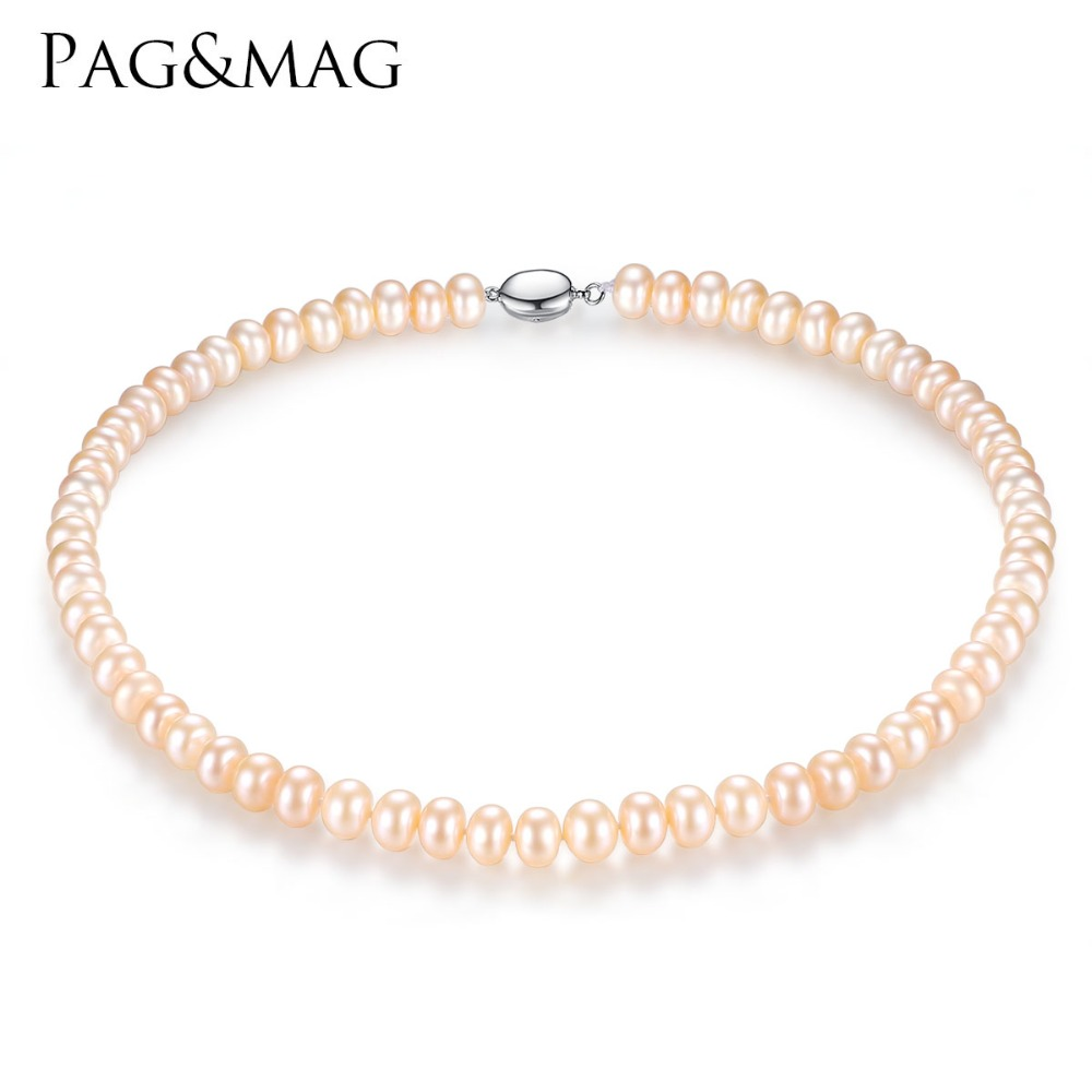 PAG&MAG Brand 8-9mm Natural Freshwater Pearl Necklace Single Necklace for Women High Brightness Pearl Beaded Necklace Wholesale pearl beaded flounce skirt