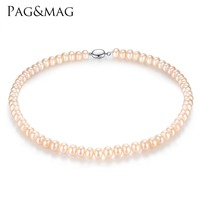 PAG MAG Brand 8 9mm Natural Freshwater Pearl Necklace Single Necklace For Women High Brightness Pearl