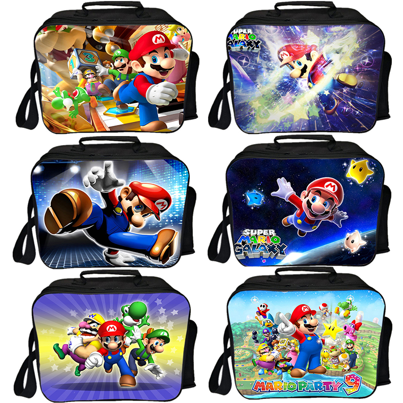Super Mario <font><b>Lunch</b></font> Bag Men Women Boys Girls Thermal Insulated Box Fashion Student Worker Fresh <font><b>Ice</b></font> <font><b>Pack</b></font> Daily School Food Bag image