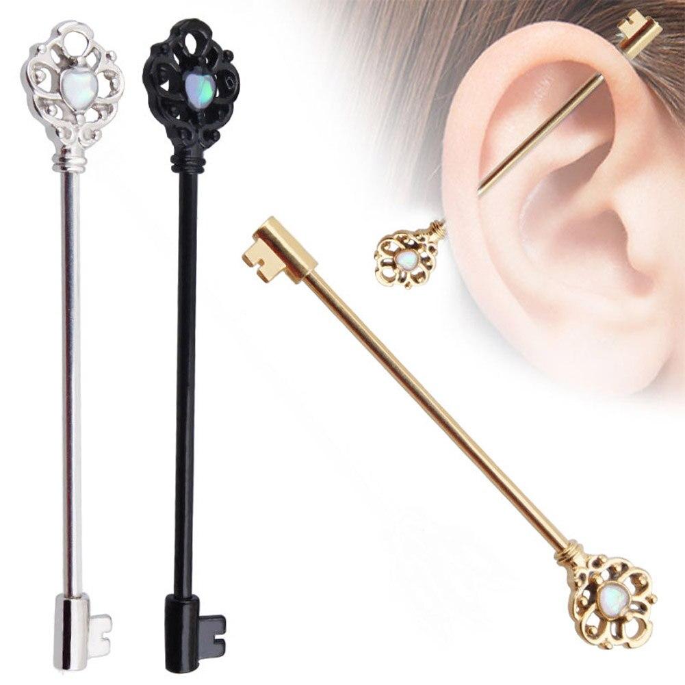 Industrial Cartilage Piercing Bar Stainless Steel Opal Stone Key Barbell Long Straight Women Men Body Jewelry