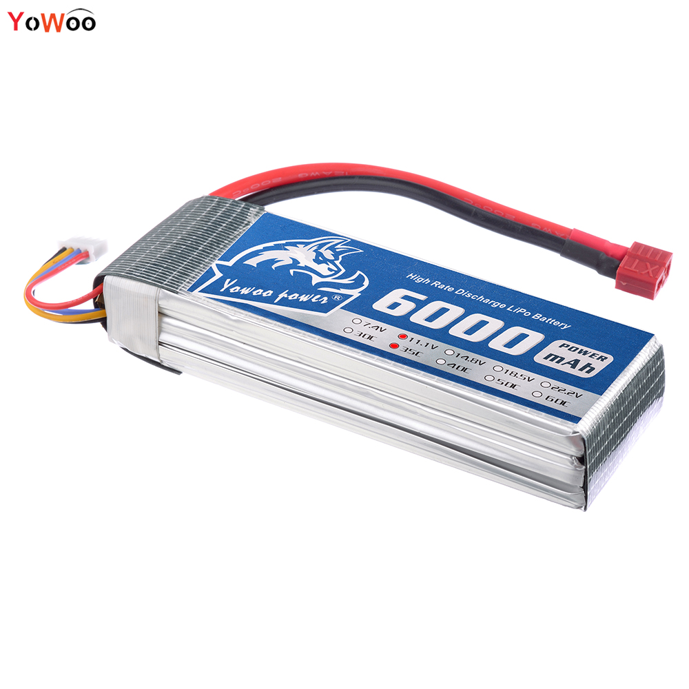 YOWOO Lipo 3s Battery 11.1V 6000mAh 35C Burst 70C XT60 RC Bateria For Drone AKKU Helicopter Traxxas Car Boat Airplane Quadcopter wild scorpion rc 18 5v 5500mah 35c li polymer lipo battery helicopter free shipping