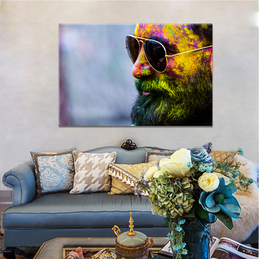 Unframed Canvas Painting Multicolor Character Art Long Beard Print Painting Posters Wall Picture For Living Room Home Decor