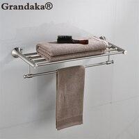 Modern SUS 304 Stainless Steel Bathroom Towel Shelf Nickel Finish Towel Holder Bathroom Double Towel Racks Bathroom Hardware