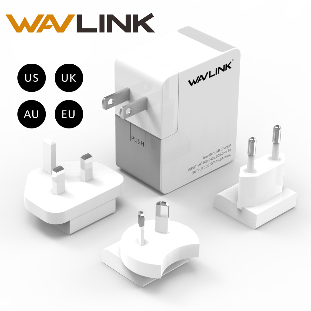 Wavlink 2 Port USB Charger Adapter 4.8A Portable Wall Charger Adapter Universal wit Replaceable Plug for Mobile Phone Charger