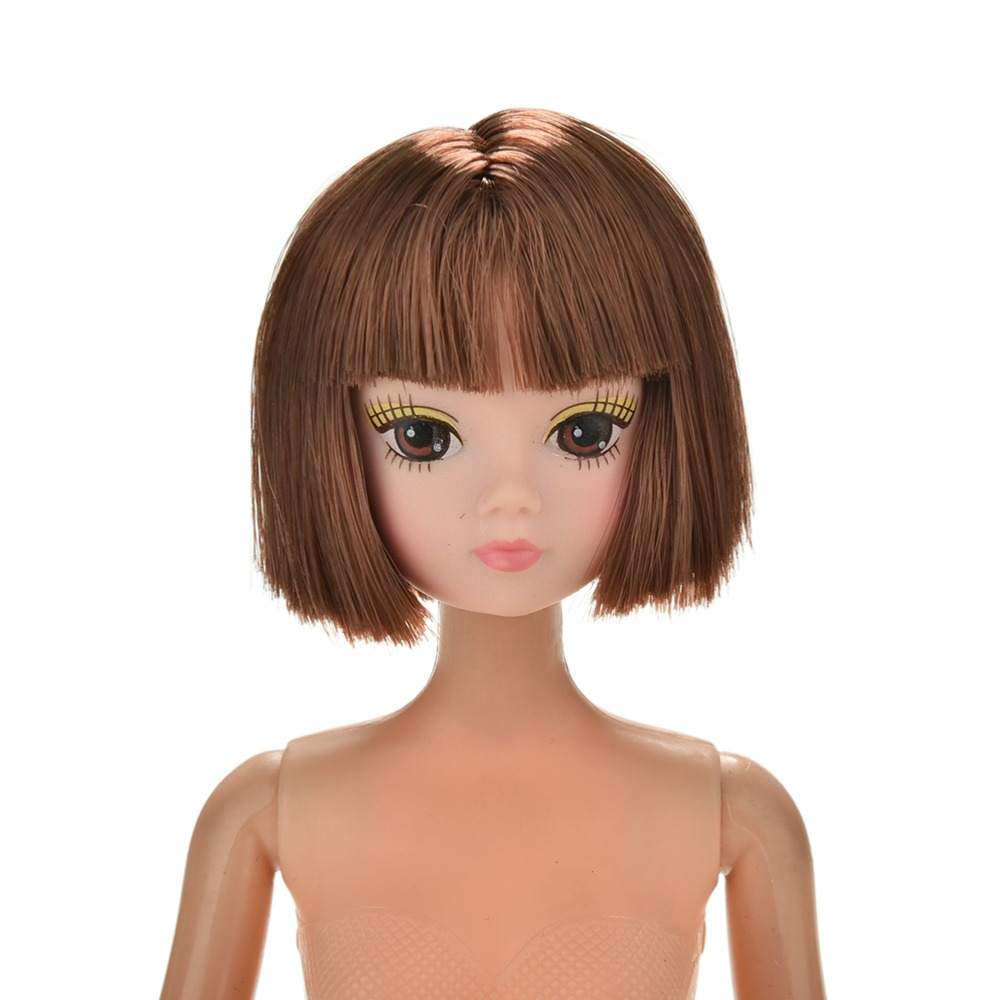 DIY Kids Toy Beautiful Doll Head with Brown Short Hair Doll ...