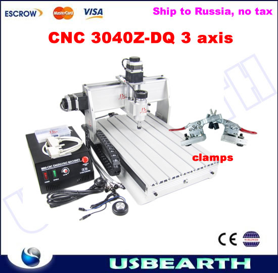 No tax to Russia! CNC Router 3040 Z-DQ 3 axis,woodworking machine with ball screw, send plain vice for gift