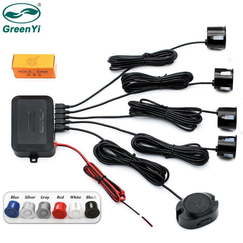 Greenyi парковка парктроники с 4 шт. черный, серебристый цвет Цвет: белый, черный, Голубой Красный 22 мм Датчики Обратный резервного Радар Звук Звуковой сигнал