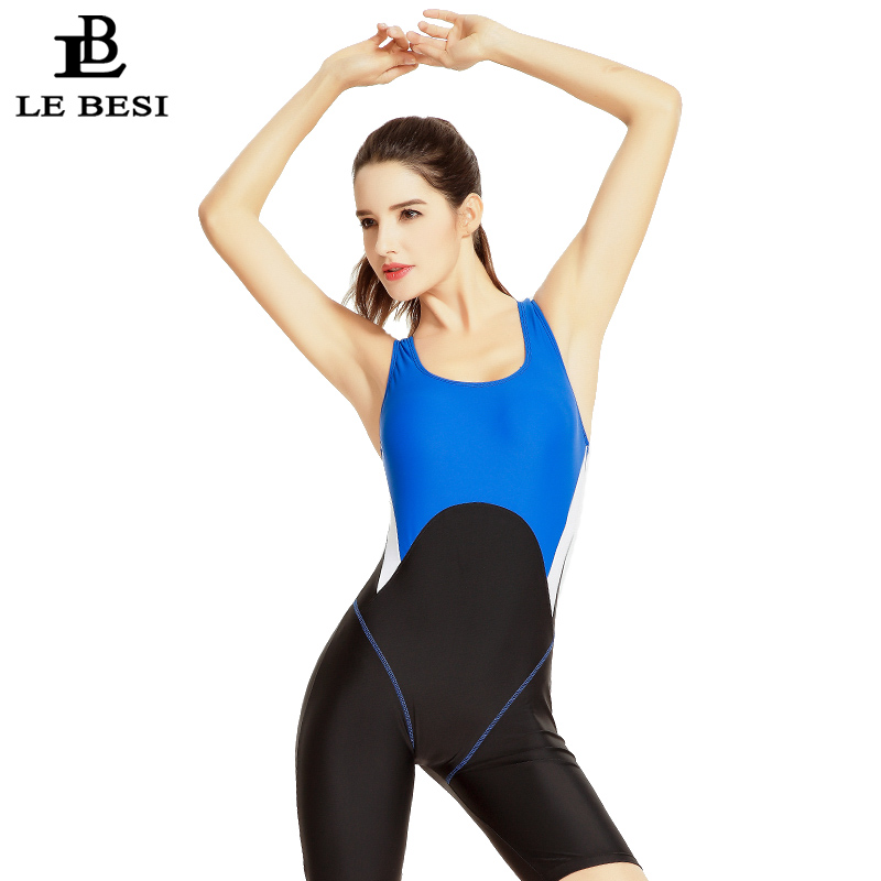 LEBESI 2017 New Womens Professional One Piece Swimsuit Sportswear Backless Swimwear Bodysuit Bathingsuit Conservative Monokini