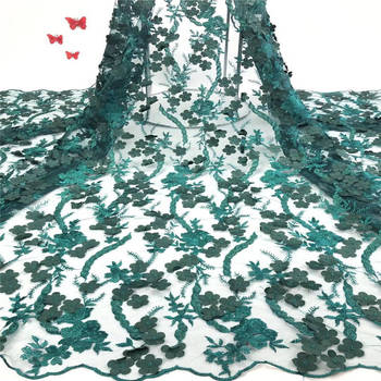 Luxurious high-end noble green beaded embroidery flower trim with wavy feather lace fabric, handmade lace DIY decoration