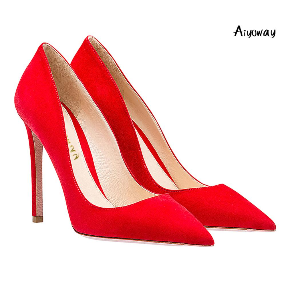 Aiyoway Women Shoes Pointed Toe High Heels Pumps Autumn Spring Party Shoes Slip On Faux Suede women heels Black Red Brown heels