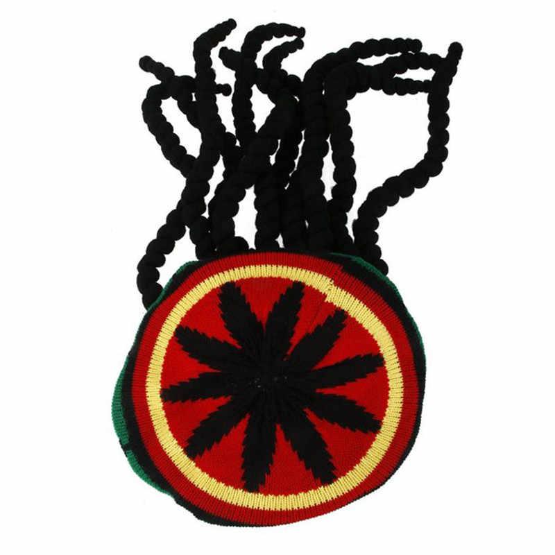 Men Women Jamican Rasta Hat Dreadlocks Wig Bob Marley Caribbean Fancy Dress Prop Unisex Knitted Beanie Hat