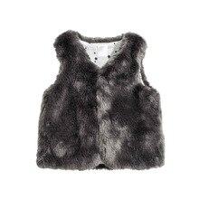 Осенне-весенний жилет для маленьких детей мягкие скользкие маленькие пальто Имитация лисьего меха теплая одежда для мальчиков и девочек(1-24 месяца