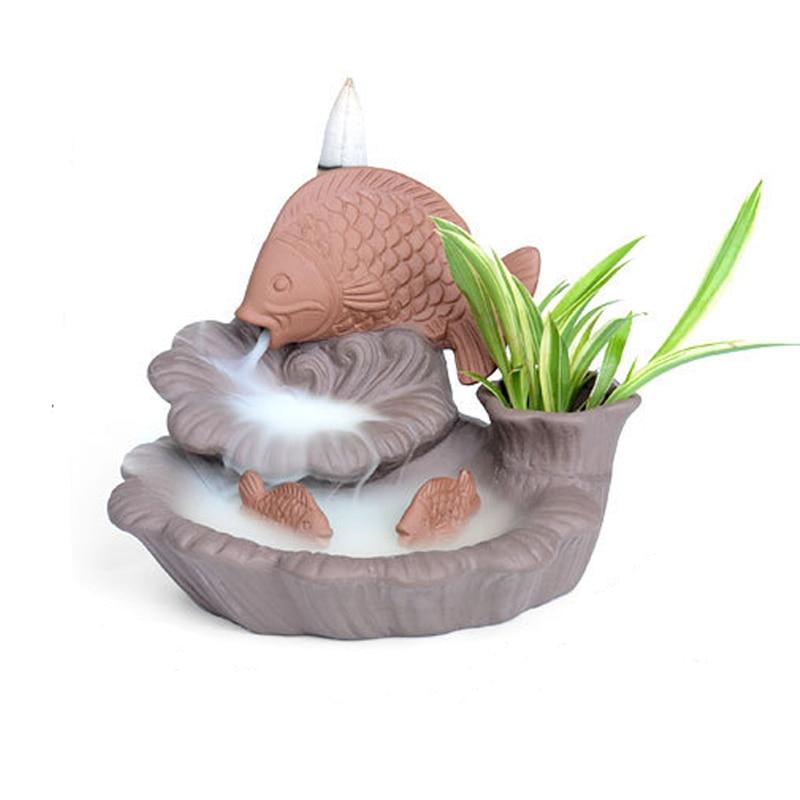 Fish and water backflow incense censer Antique ceramic Crafts lotus burner Tea pet ornament Wedding Gift Beautiful Home Decor