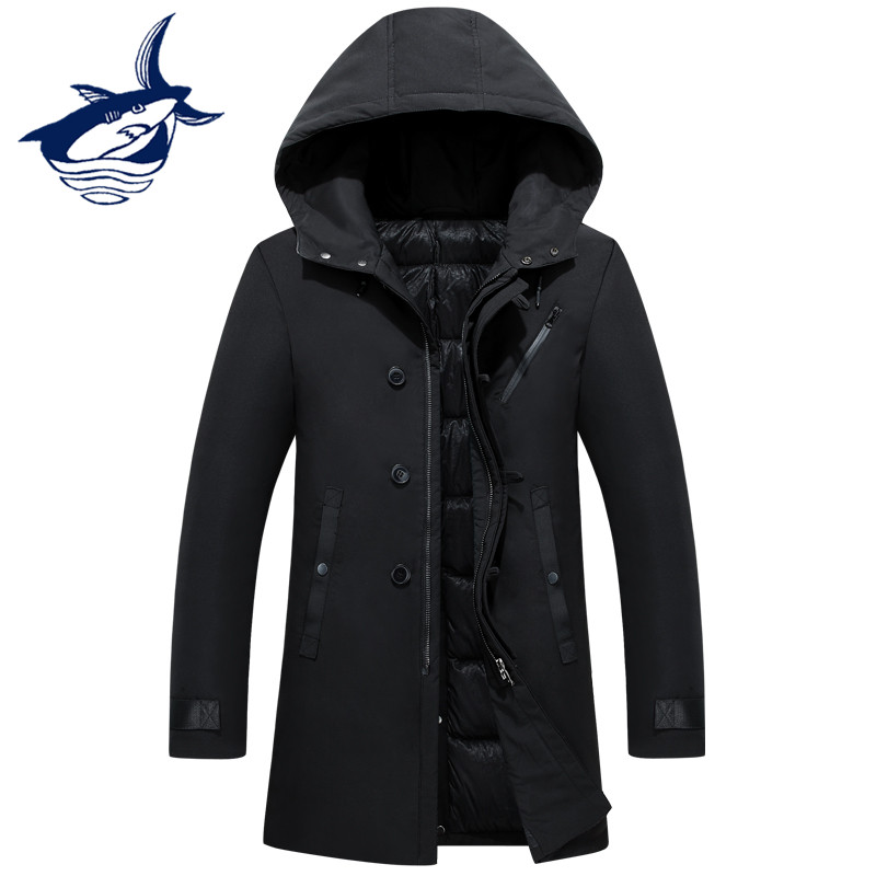 New Brand Clothing Tace & Shark Long Down Jacket Men Solid Hood Casual Fashion Thick Thermal Windproof Winter Mens Down Coat