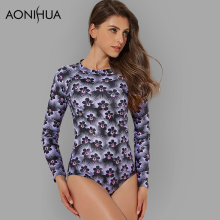 AONIHUA 2018 Ultra Violet One Piece Surfing Swimsuit Women Print Floral Long sleeve Push up Swimwear female Bathing Suit