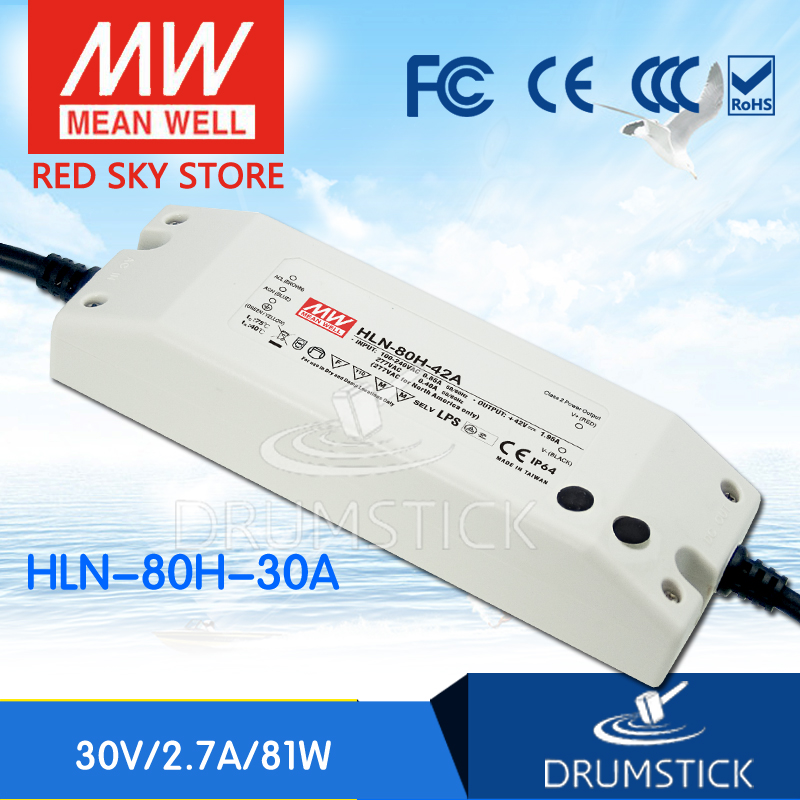 цена на Original MEAN WELL HLN-80H-30A 30V 2.7A meanwell HLN-80H 30V 81W Single Output LED Driver Power Supply A type