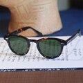 Ретро Винтаж Джонни UV400 % Анти-Отражающие Солнечные Очки Мужчины Женщины Круглая Рамка Черепаха Очки Зеленые Линзы Поляризованный Солнцезащитные Очки