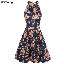 Oxiuly Womens Halter Neck Floral Summer Casual Sundress Sleeveless Bodycon Hollow out Back A-Line Wrap Dress