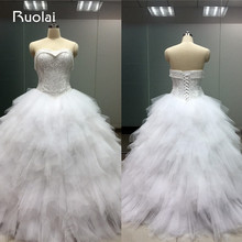 Gorgeous Real Picture Sweetheart White Wedding Dress 2016 Tiered Ball Gown Bridal Gown Tulle Vestido de Novia Lace Up Back FW13