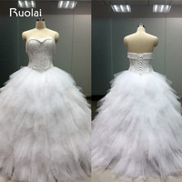 Gorgeous Real Picture Sweetheart White Wedding Dress 2016 Tiered Ball Gown Bridal Gown Tulle Vestido De