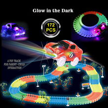 172PCS Glow race track Bend Flex Create A Road Glow in the Dark Plastic Race Track Electronics Car 5 LED Lights Toy For Kids