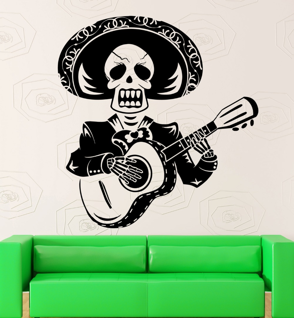 Art design creative skull man play the guitar wall sticker mexico mariachi with sombrero vinyl wall mural home special decorm 64