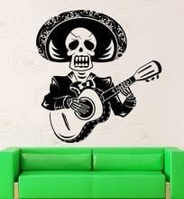 Arte Diseño Creativo Cráneo Hombre Tocar La Guitarra Mariachi México Con Sombrero de Vinilo Etiqueta de La Pared Casero Mural de La decoración Especial DecorM-64