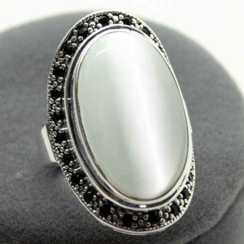 good Bridal Wedding unsex 17X30mm Clear Opal Oval 925 Sterling Silver Marcasite Ring Size 8/9/10 valentise's gift