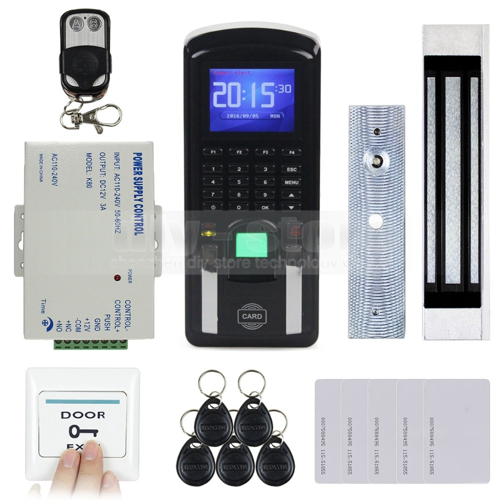 DIYSECUR TCP/IP USB Fingerprint ID Card Reader Password Keypad Door Access Control System + Power Supply + Magnetic Lock Kit diysecur tcp ip usb fingerprint id card reader password keypad door access control system power supply magnetic lock kit