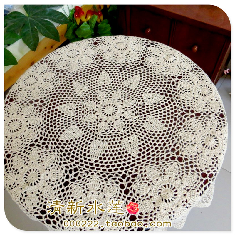 90cms Square Cream Crocheted Tablecloth
