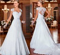 Gracious Wedding dress VERNASSA Short Cap Sleeves Sweetheart vestidos de noiva Lace A-line Wedding Dresses with Detachable Train