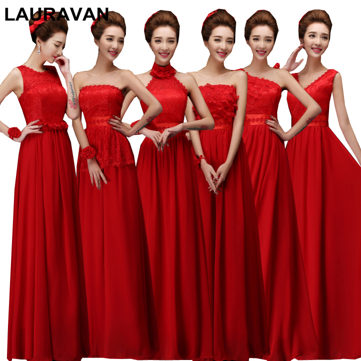 Long Modest Red Color Formal Chiffon Lace Foral Peplum Women Girls Bridesmaid Wrap Bridemaide Party Dress Elegant 2019