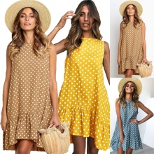 купить Sleeveless O-neck Dress 2019 Summer Women Polka Dot Dress Ruffle Hem Casual Loose Mini Dress онлайн