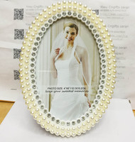 6 Inch Oval Shape Fashion Pearl Diamond White Pearl Metal Photo Frame For Bridal Shower Favors