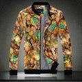 2016 New Men Floral Jacket Brand Fashion Casual Men's Outwear Flower Printed Jackets Men Zipper Coat Plus Size 3XL 4XL 5XL 15of