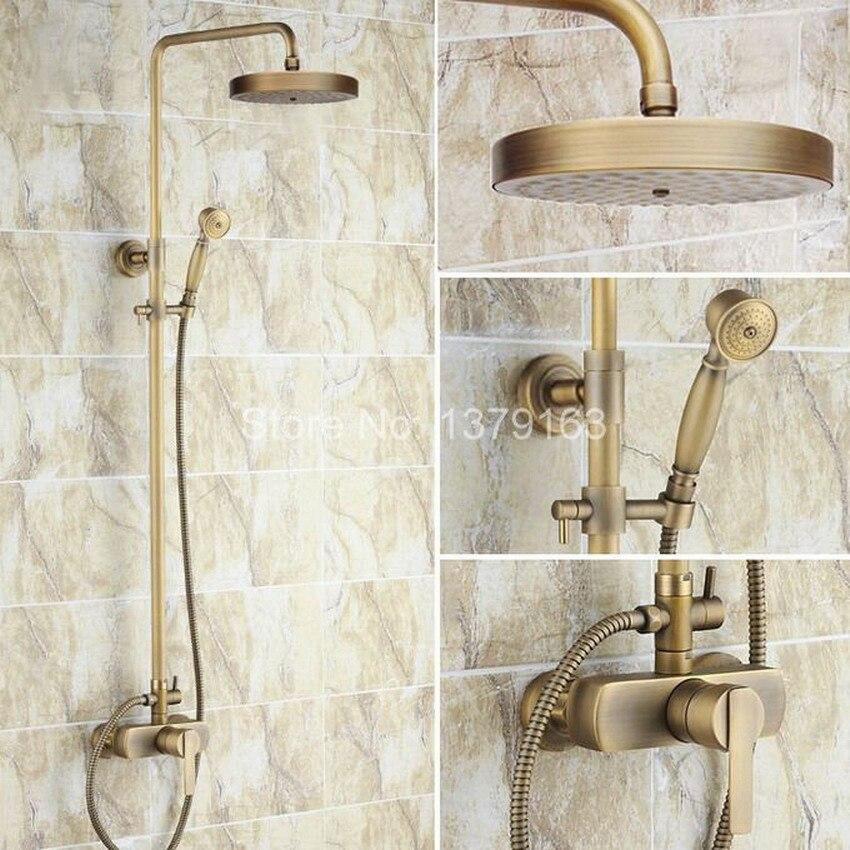 Bathroom Rain Shower Faucet Set Antique Brass Single Lever Mixer Tap + 7.7 Inch Round Rainfall Shower Head + Handshower ars177
