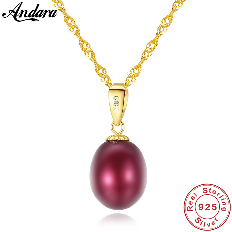 Real Pure 18k Gold Jewelry 6 Color Natural Pearl Pendant Necklaces Fashion Simple Women NecklaceReal Pure 18k Gold Jewelry 6 Color Natural Pearl Pendant Necklaces Fashion Simple Women Necklace