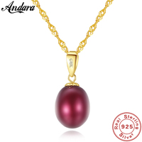 Real Pure 18k Gold Jewelry 6 Color Natural Pearl Pendant Necklaces Fashion Simple Women Necklace