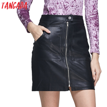 Tangada Fashion 2017 Women Black Faux Leather Skirt High Waist Zipper Pockets Brand Office Lady Mini Skirts For Feminina Female