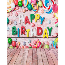 Happy Birthday vinyl cloth candy party wood floor photography backdrops for children newborn photo studio portrait backgrounds(China)