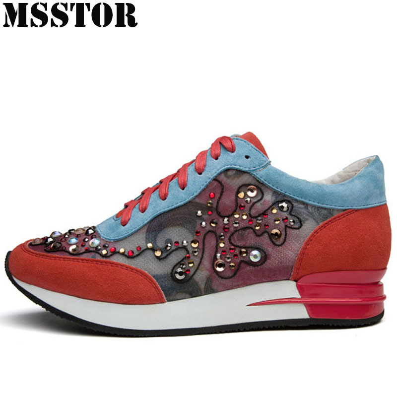 MSSTOR Fall2018 Womens Run Running Shoes Genuine Leather Women Sport Shoes Walking Woman Brand Outdoor Athletic Ladies Sneakers oln woman brand outdoor athletic winter sport shoes for women comfortably women running shoes outdoor jogging womens sneakers