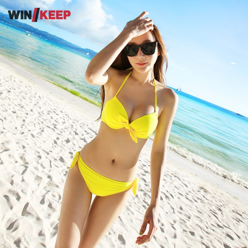 2017 Beach Sexy Woman Bikinis Set Halter Brazilian Bikinis Women Low Waist Sexy Swimsuit Bowknot Biquini Push Up Yellow Orange new women sexy brazilian bikinis brand beach swimsuit bright colors halter tube