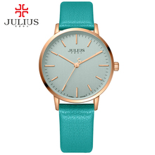 JULIUS 34mm Rose Gold Clock Cheap Watch Brand Relojes Black Leather Whatch Women Fashion Hour Ladies Fancy Watches Simple 922A