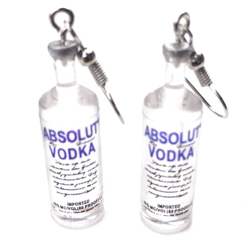 1 Paar Kreative Kühle Wodka Flasche Tropfen Ohrringe Lustige Trinken Stil Cartoon Transparent Flasche Baumeln Ohrringe Für Frauen Mädchen Krankheiten Zu Verhindern Und Zu Heilen