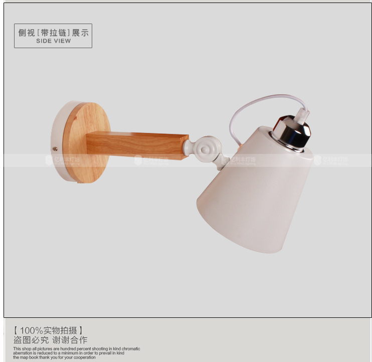 ФОТО LOFT Nordic Modern LED Wall Lamp Fixtures With White Lampshade For Bedroom Wooden Stair Light Wall Sconce Lamparas Pared E27