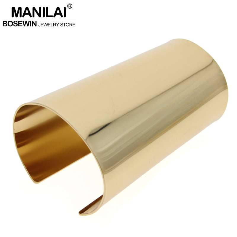 MANILAI Simple Design Smooth Big Bracelet For Women Statement Jewelry Femme T Show Accessories Alloy Cuff Bangle Manchette