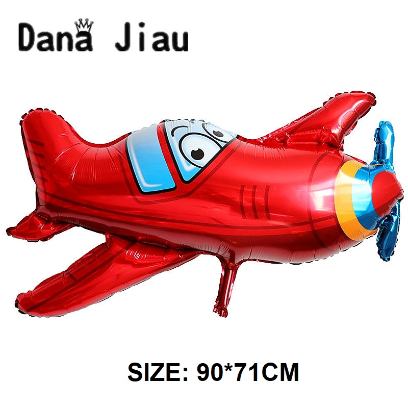 DanaJiau red airplane balloon Happy Birthday Party boy gift Tank bus Fire Truck shark Decoration cartoon car foil balloons image
