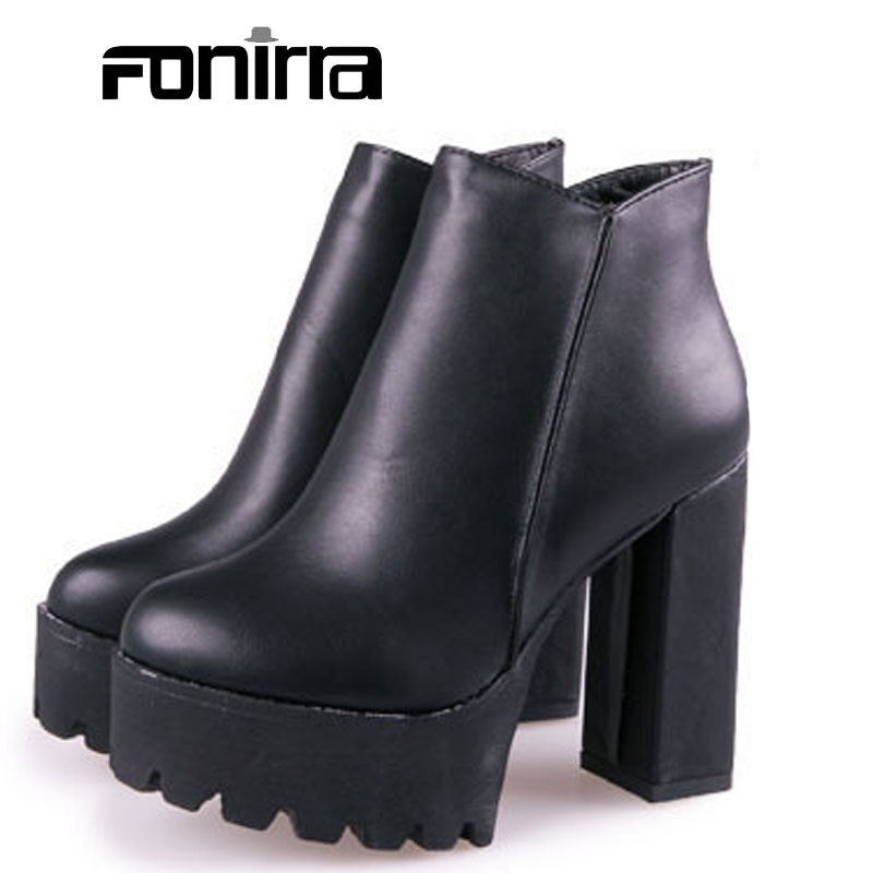 Women Super High Round Toe Ankle Boots Spring Solid Square Heel Zip Soft  Leather Platform Women Fashion Shoes 218 new design brush effect soft leather back etoile round ring belt buckle ankle boots square toe side zip women boots shoes woman